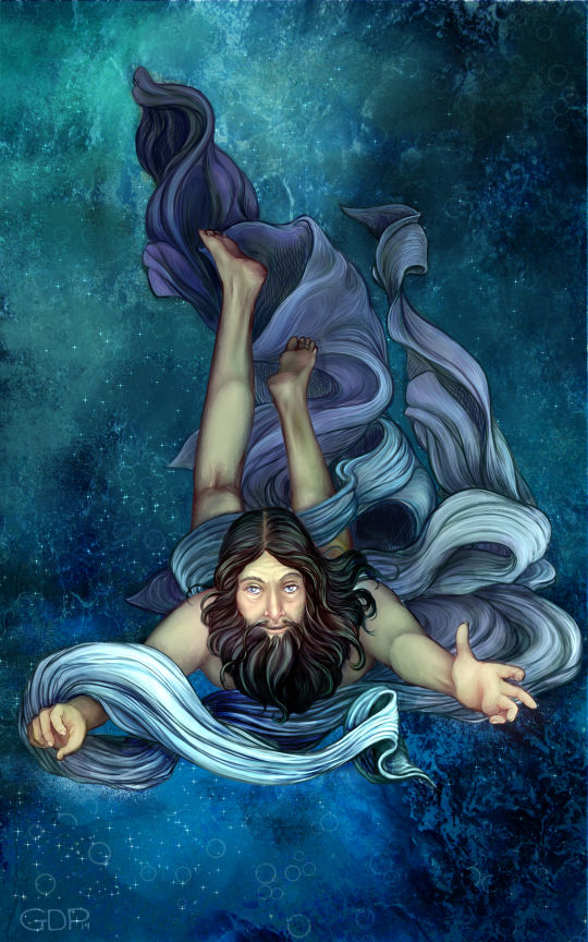 This Grace Palmer painting of Poseidon will grace the cover of the book.